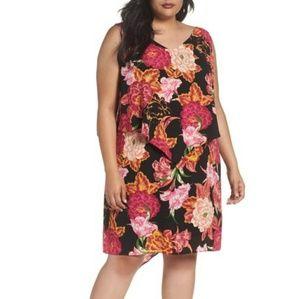 Tahari Fly Away Tiered Shift Dress 14W Floral
